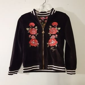 Betsey Johnson Velour Embroidered Zip Up Jacket